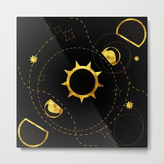 Solar Eclipse black Metal Print