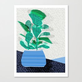 Ditz - house plant art neon pattern texture inky memphis style throwback 1980s 80s retro vintage  Canvas Print