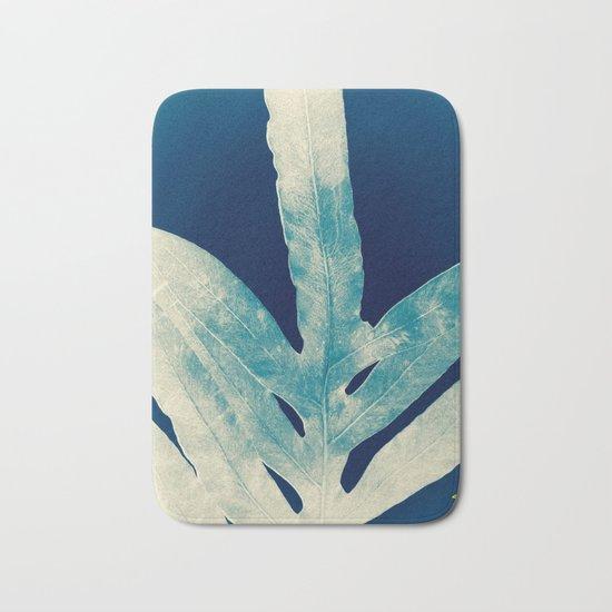 Green Fern at Midnight Bright, Navy Blue Bath Mat