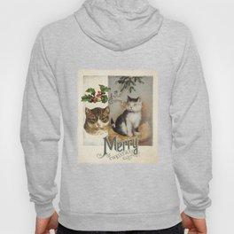 Merry Catmas vintage cat xmas illustration Hoody