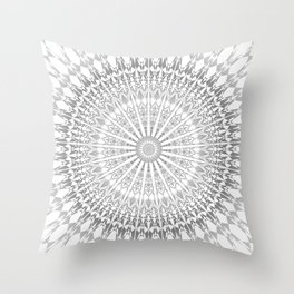 Gray White Mandala Throw Pillow
