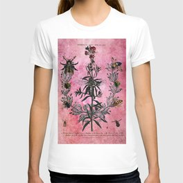 Vintage Bees with Toadflax Botanical illustration collage T-shirt