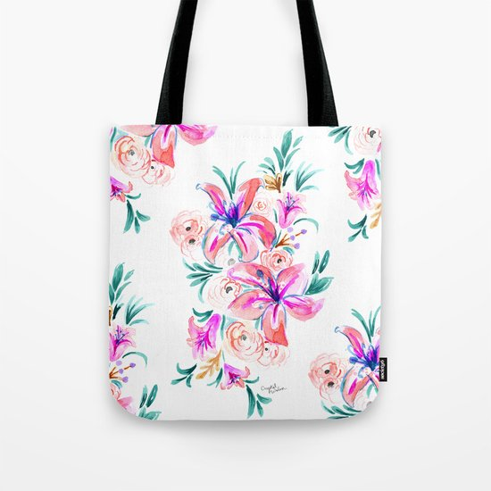 Summer Lily Floral Tote Bag