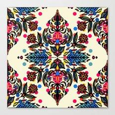 Bright Folk Art Pattern - hot pink, orange, blue & green Canvas Print