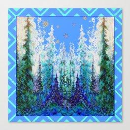 Western  Blue Modern Art Mountain Blue Winter Trees  Art Canvas Print
