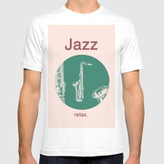 Jazz Relax and play sax MEDIUM White Mens Fitted Tee