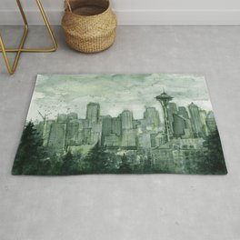 Seattle Skyline Watercolor Space Needle Emerald City 12th Man Art Rug