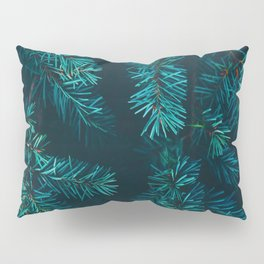 Pine Tree Close Up Neon Green Colorful Leaves Against A Black Background Pillow Sham