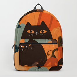Cute seamless pattern with black cats and pumpkins. Trendy autumn colors. Vintage illustration Backpack