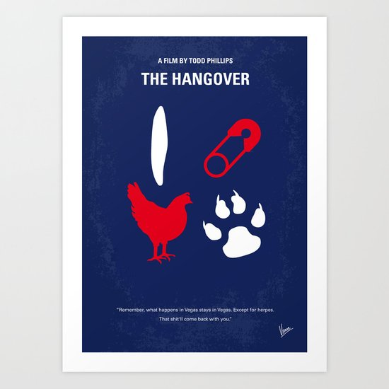 No145 My Hangover PART 1 minimal movie poster Art Print