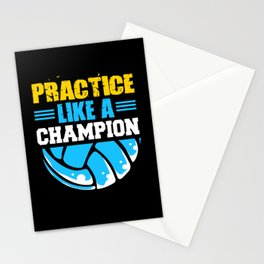 Volleyball Players Practice Champion Ball Team Set Stationery Cards
