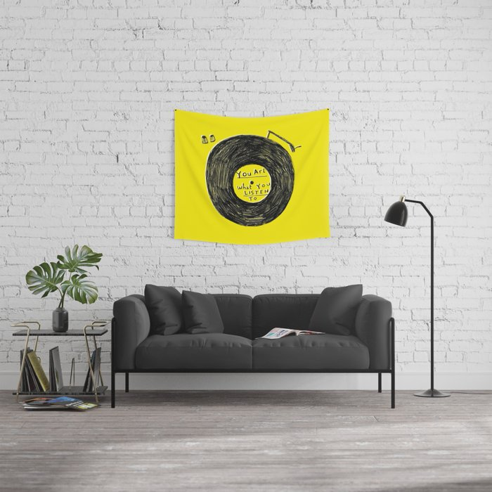 you are what you listen to FULL YELLOW Wall Tapestry
