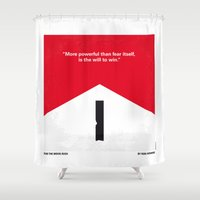senna Shower Curtains featuring No228 My Rush minimal movie poster by Chungkong