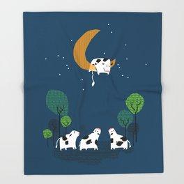 A cow jump over the moon Throw Blanket