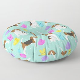 Beagle marshmallow peeps candy spring easter treat tradition for dog lovers Floor Pillow