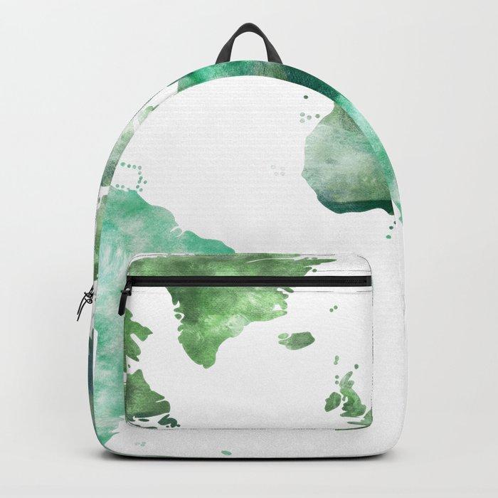 World Map Emerald Green Earth Backpack