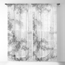 psychedelic color gradient pattern splatter watercolor black white Sheer Curtain