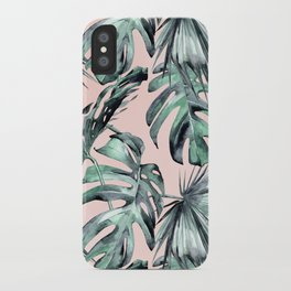 Island Love Coral Pink + Green iPhone Case