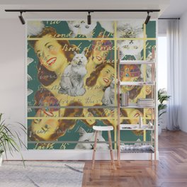 THE WOMAN GINGER ROOT AND THE CATS Wall Mural