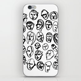 Black and White Line Drawing Faces iPhone Skin