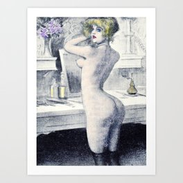 Hand colored Nude Boudoir Blond Blue Eyes Black Stockings Red Lips Art Print