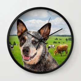 Australian Cattle Dog Blue Wall Clock