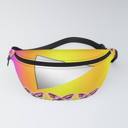 Video play button with cute pink and yellow color! Butterfly symbol is beautiful. Fanny Pack