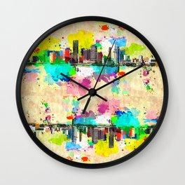 Miami Skyline Grunge Wall Clock