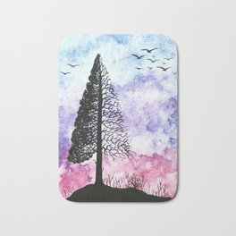 Silhouette of pine tree Bath Mat