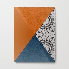 Orange and Blue Triangles Metal Print