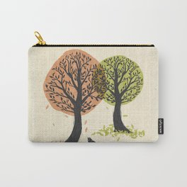Autumn Is For The Birds Stamped Linocut Carry-All Pouch