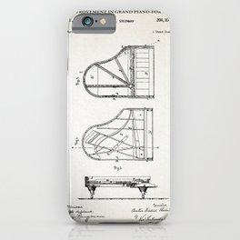 Grand Piano Patent - Antique White iPhone Case