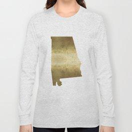 alabama gold foil state map Long Sleeve T-shirt