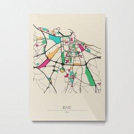 Colorful City Maps: Bari, Italy Metal Print