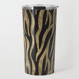 Modern elegant black faux gold trendy zebra animal print Travel Mug