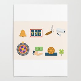 Cash, Roulette, Partying & Poker - Nevada Day Poster
