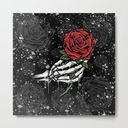Skeleton Rose Offering Metal Print