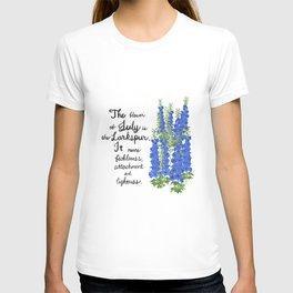 Larkspur - Birth Month Flower for July T-shirt