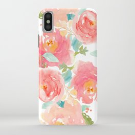 Watercolor Peonies Summer Bouquet iPhone Case