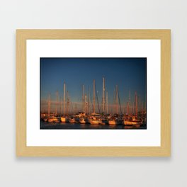 Moon over Amble Framed Art Print