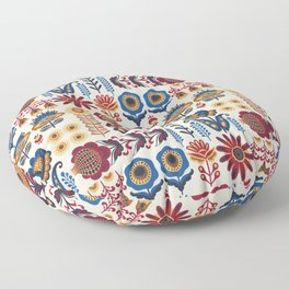 Scandinavian Folk Art Pattern Floor Pillow