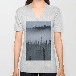 Forest Fog Above Tree Tops Unisex V-Neck