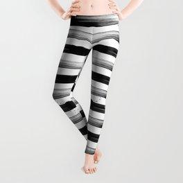 Japanese calligraphy stroke stripe -Zen style, black and white Leggings
