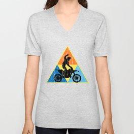 Motocross Triangle Tee Shirt HIPSTER EDI Unisex V-Neck