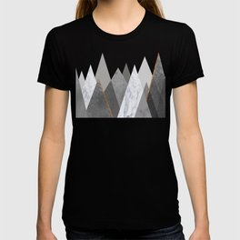 Marble Gray Copper Black and White Mountains T-shirt