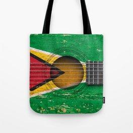 Old Vintage Acoustic Guitar with Guyanese Flag Tote Bag