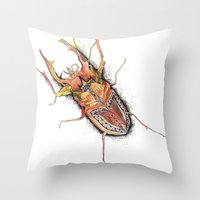 beetle Throw Pillows featuring Beetle by Cherry Virginia