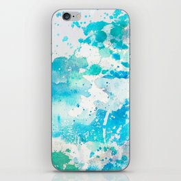 Hand painted teal turquoise ivory watercolor splatters iPhone Skin