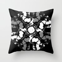leather Throw Pillows featuring LEATHER by muckypets