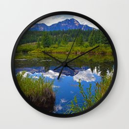 Pyramid Mountain in Jasper National Park, Canada Wall Clock